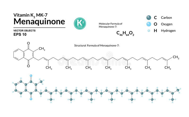 Structural chemical molecular formula and model of Menaquinone-7. Atoms are represented as spheres with color coding royalty free illustration