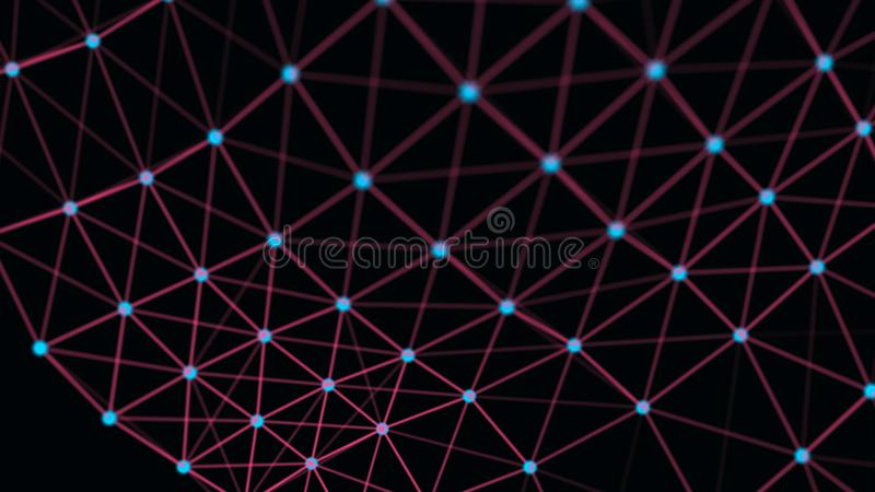 Structural connection of information. Data transfer in network connection. Abstract data background. 3D rendering vector illustration