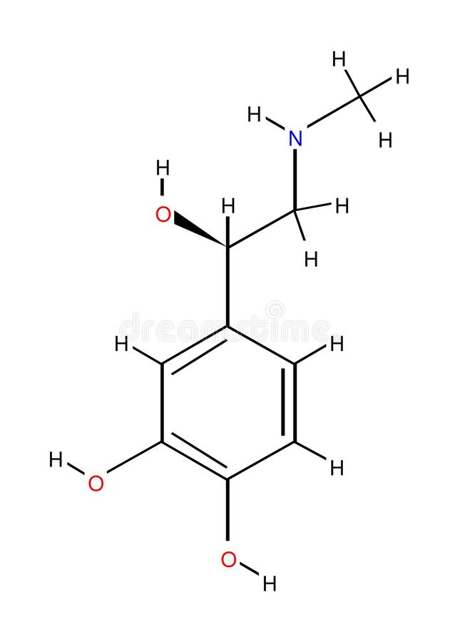 Structural formula of adrenaline stock photo