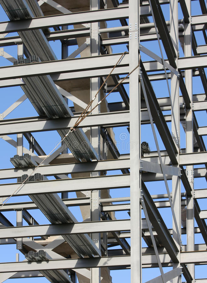 Structural Steelwork Construction. Structural steel framework for a new building under construction stock images