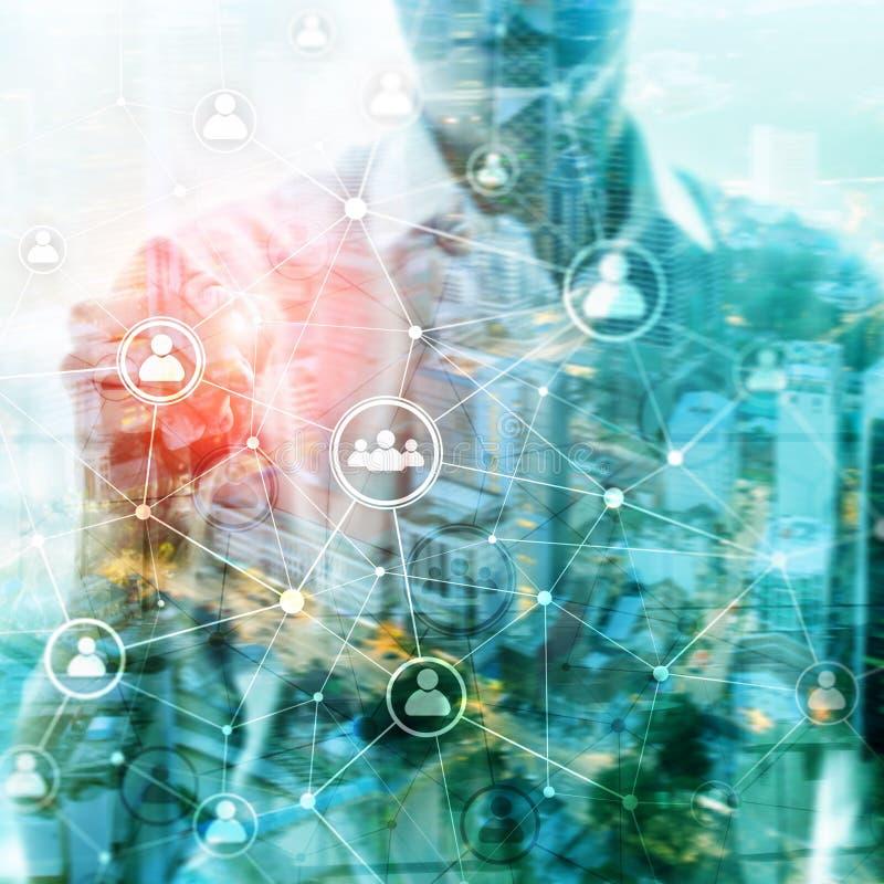 StructureÑŽÑŽ hora da rede dos povos da exposição dobro - gestão de recursos humanos e conceito do recrutamento ilustração stock