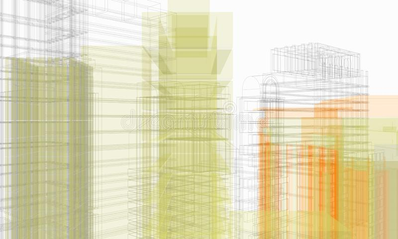 Structure of architectural work of draw in white environment royalty free stock images