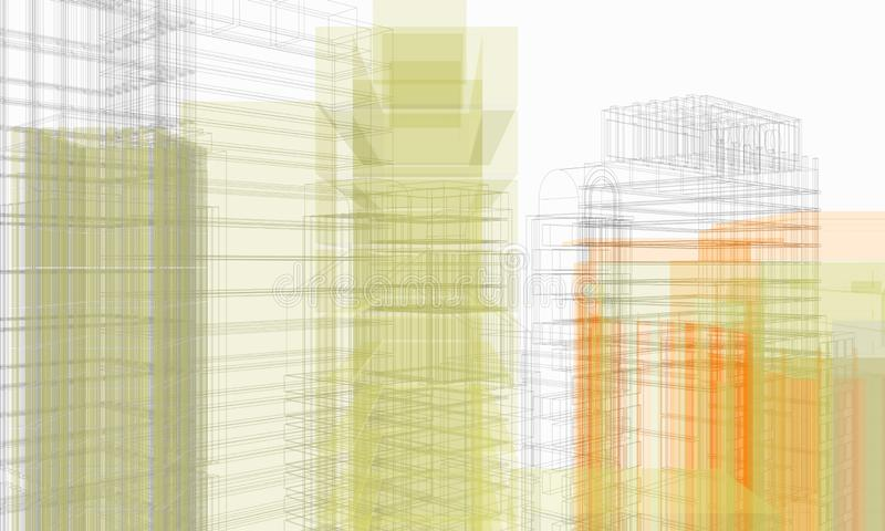 Structure of architectural work of draw in white soft environment royalty free stock image