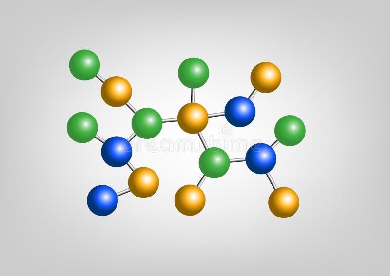 Structure atomique de molécule en chimie, illustration libre de droits