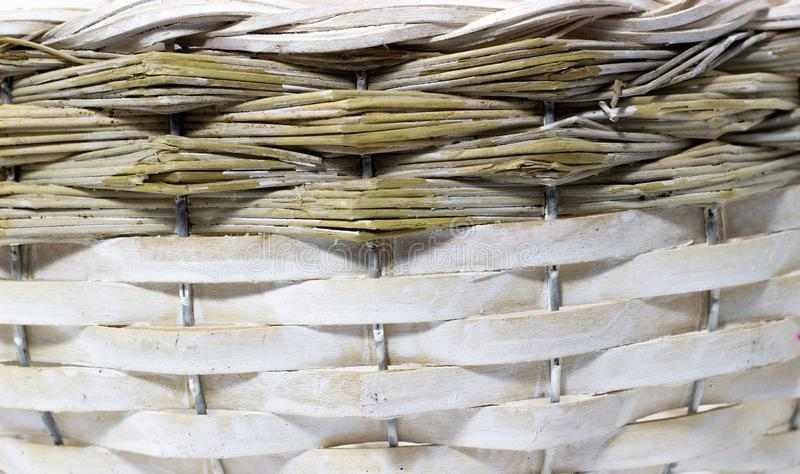 The structure and background of the wicker basket. Pattern round texture. Vertical and horizontal weave royalty free stock photos