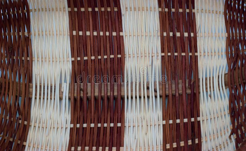 The structure and background of the wicker basket. Pattern round texture. Vertical and horizontal weave royalty free stock image