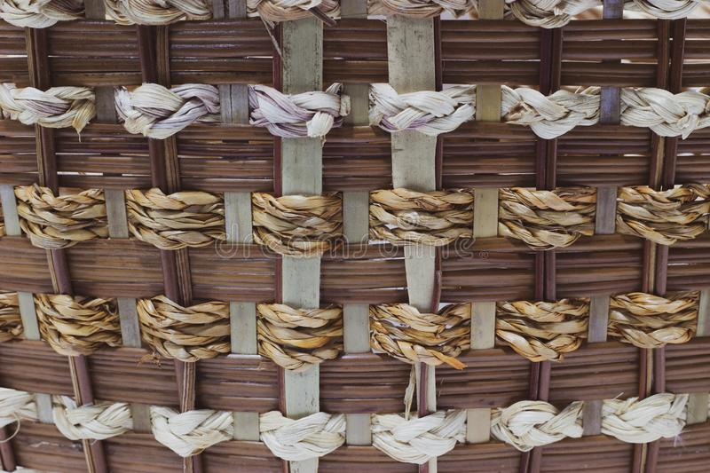 The structure and background of the wicker basket. Pattern round texture. Vertical and horizontal weave stock photography