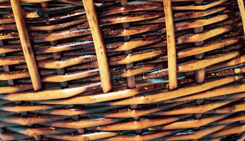 The structure and background of the wicker basket. Pattern round texture. Vertical and horizontal weave stock image