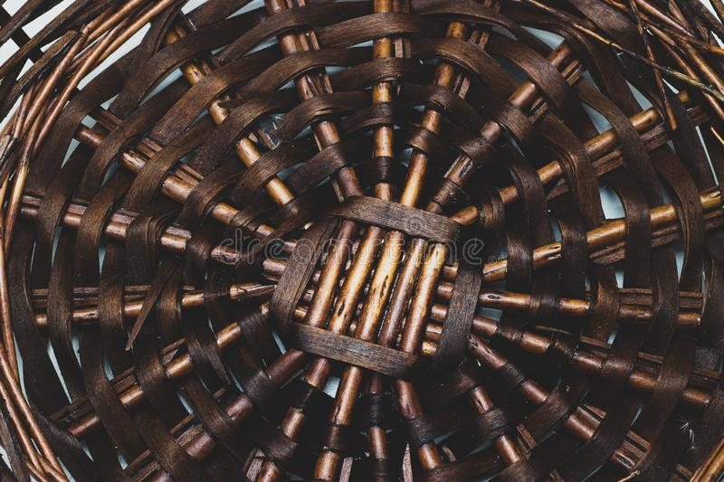 The structure and background of the wicker basket. Pattern round texture. Vertical and horizontal weave stock images