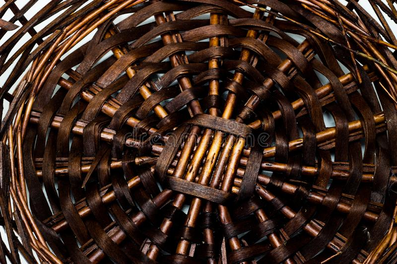 The structure and background of the wicker basket. Pattern round texture. Vertical and horizontal weave stock photo