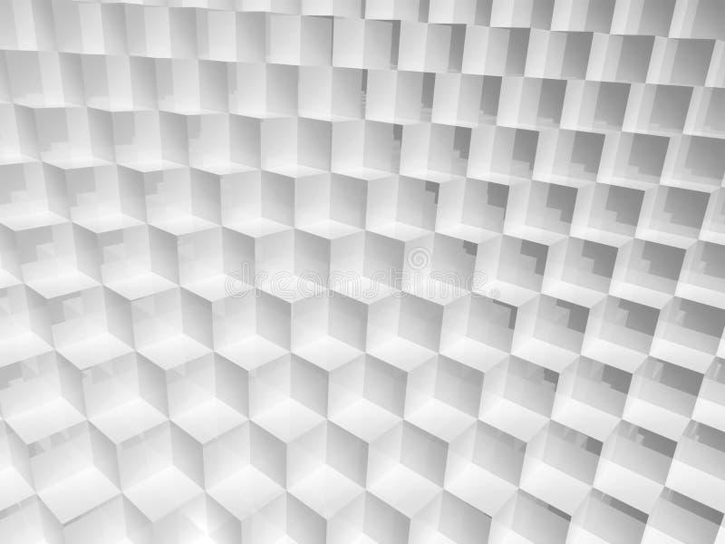 Structure blanche abstraite de cubes, illustration 3d illustration stock