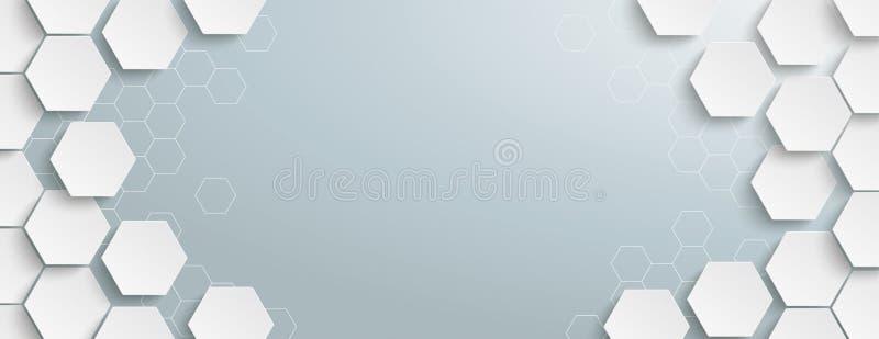 Structure blanche Gray Centre Header d'hexagone illustration libre de droits