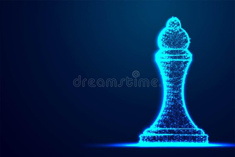 Structure bleue de cadre de polygone de wireframe de reine d'échecs, stratégie commerciale, future conception de l'avant-projet d illustration de vecteur