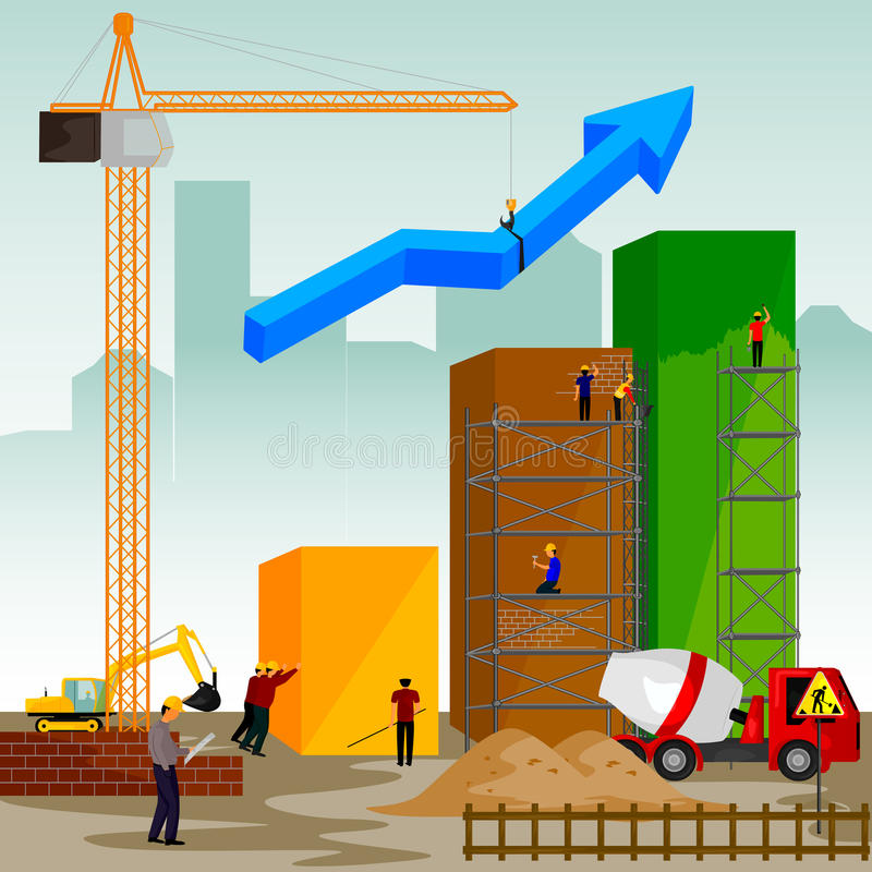 Structure building of bar graph. Vector illustration of structure building of bar graph stock illustration
