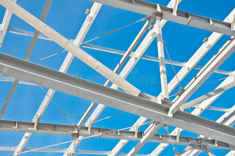 Steel construction on the background of the winter landscape. royalty free stock photos