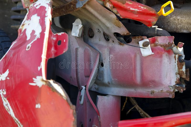 The structure of the car body. Was exposed as a result of a road accident during which, among other things, the fender detached itself from the vehicle royalty free stock image