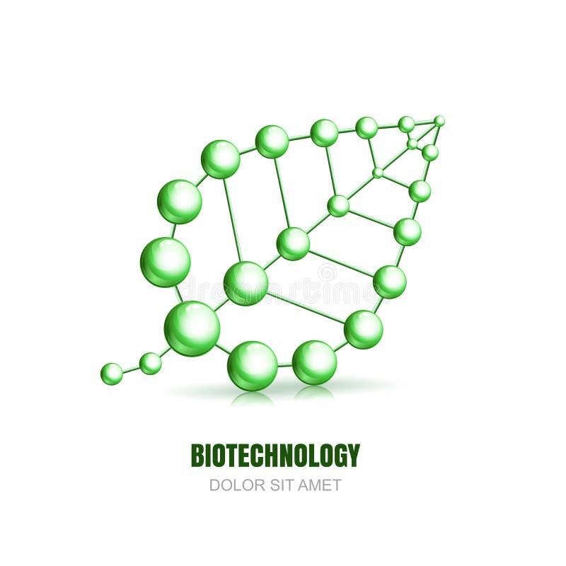 Structure cellulaire moléculaire abstraite de feuille illustration stock