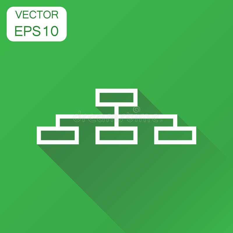 Structure chart icon. Business concept diagram pictogram. Vector. Illustration on green background with long shadow royalty free illustration