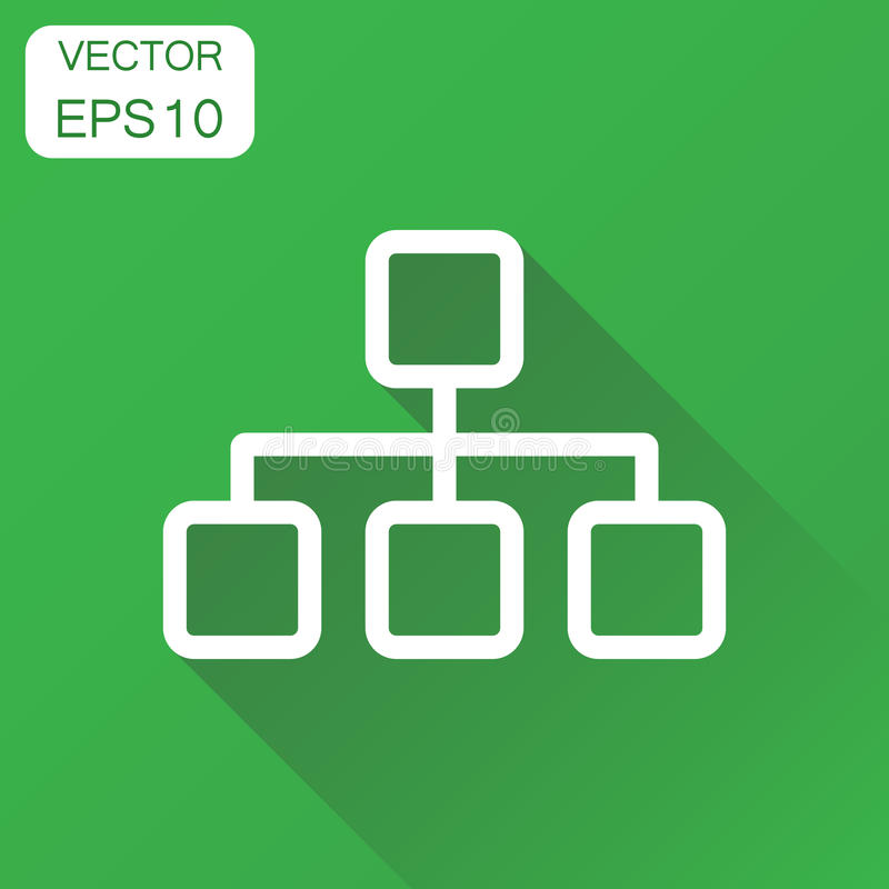 Structure chart icon. Business concept diagram pictogram. Vector. Illustration on green background with long shadow stock illustration
