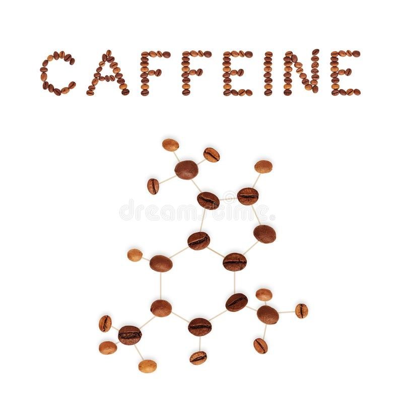 Structure chimique de molécule de caféine image libre de droits