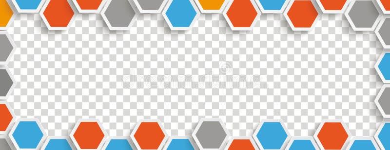 Structure colorée Gray Transparent Header d'hexagone illustration libre de droits