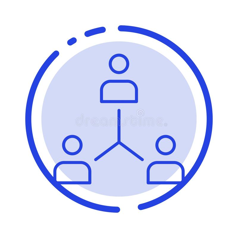 Structure, Company, Cooperation, Group, Hierarchy, People, Team Blue Dotted Line Line Icon stock illustration