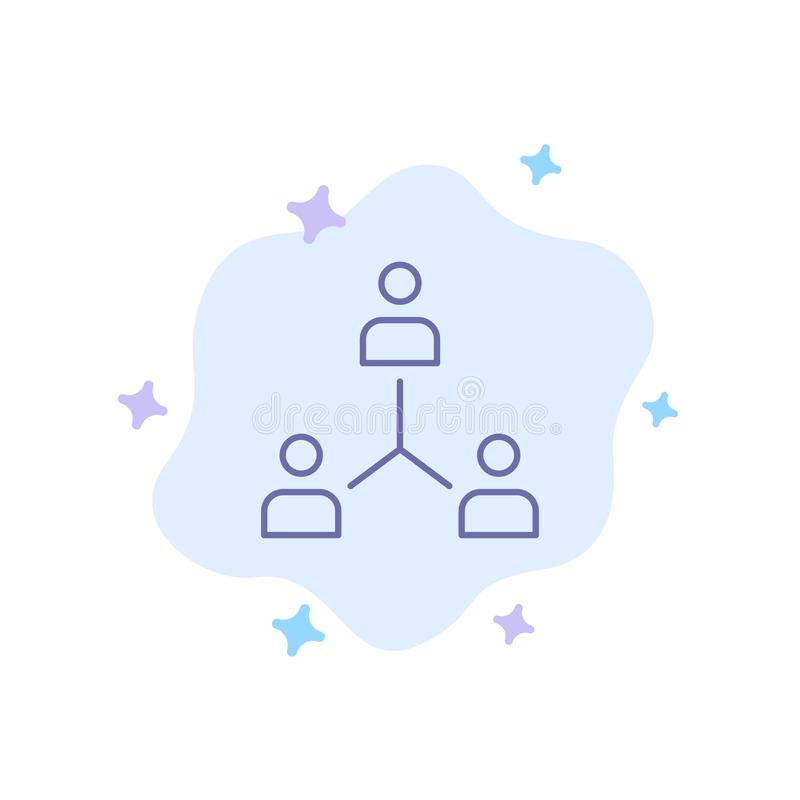 Structure, Company, Cooperation, Group, Hierarchy, People, Team Blue Icon on Abstract Cloud Background stock illustration