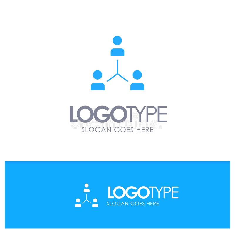 Structure, Company, Cooperation, Group, Hierarchy, People, Team Blue Solid Logo with place for tagline royalty free illustration