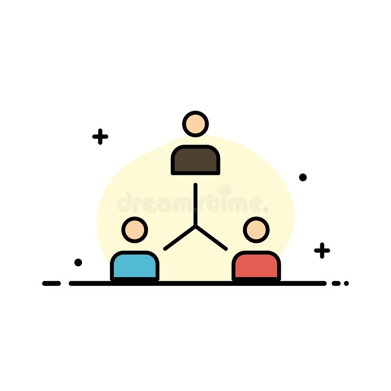 Structure, Company, Cooperation, Group, Hierarchy, People, Team  Business Flat Line Filled Icon Vector Banner Template royalty free illustration
