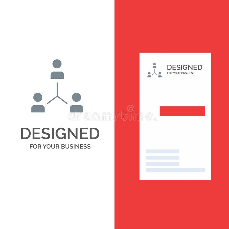 Structure, Company, Cooperation, Group, Hierarchy, People, Team Grey Logo Design and Business Card Template royalty free illustration