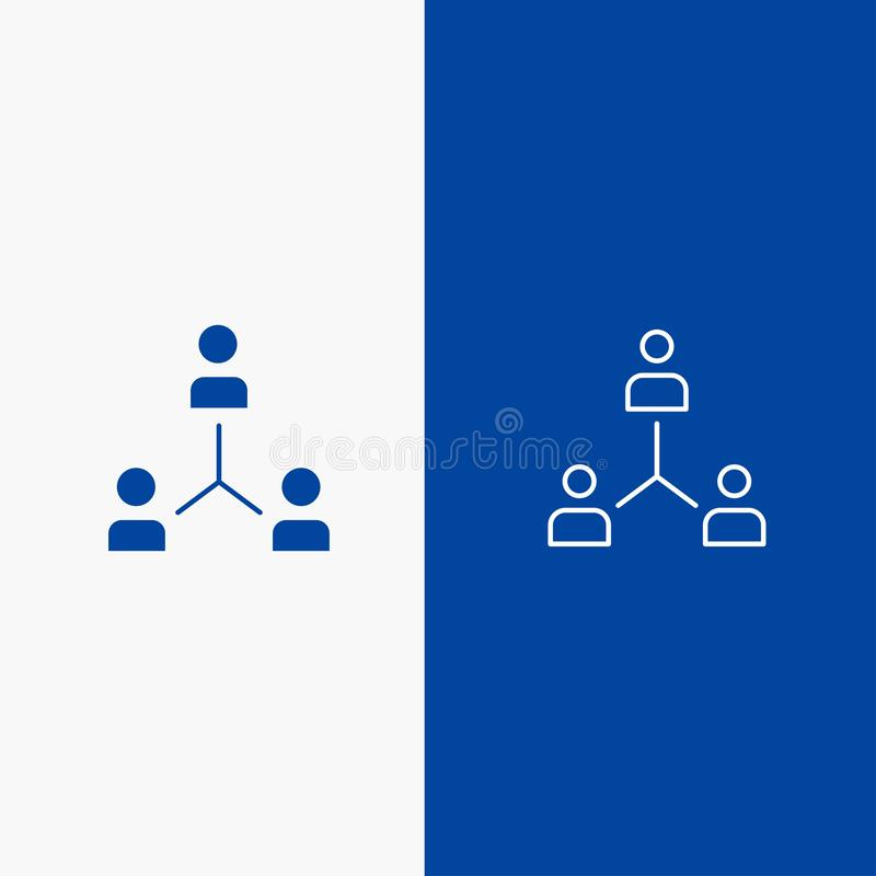 Structure, Company, Cooperation, Group, Hierarchy, People, Team Line and Glyph Solid icon Blue banner Line and Glyph Solid icon. Blue banner stock illustration