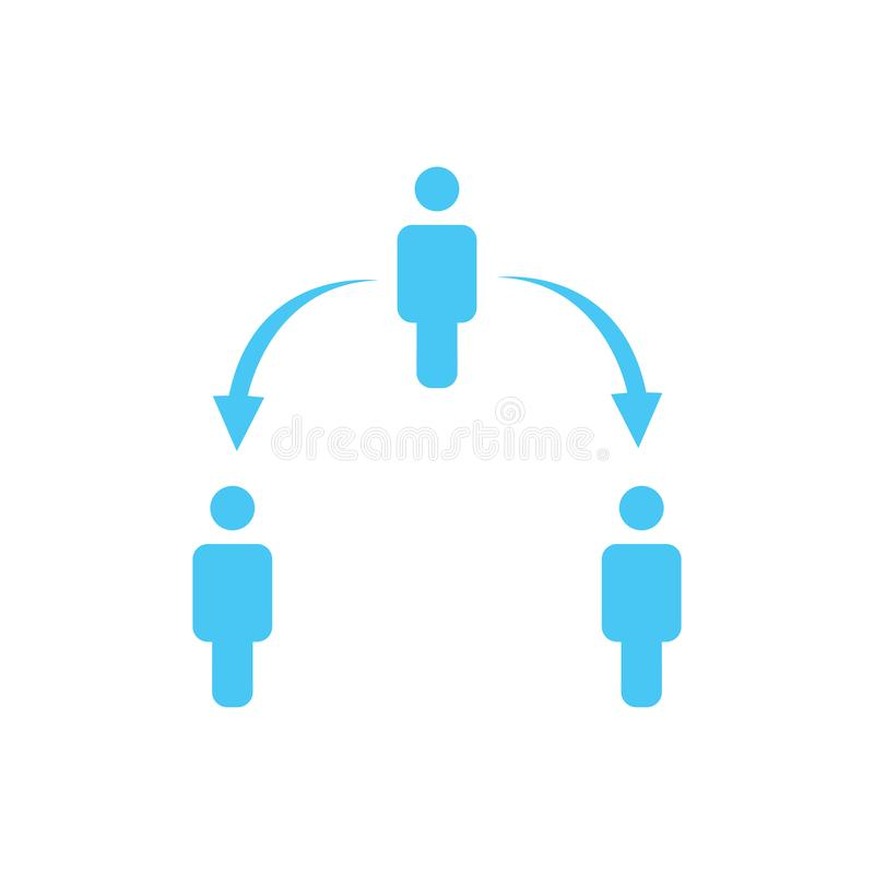 Structure of company icon, three people, business report concept. two level hierarchy with arrows down and up. vector illustration. Structure of company icon royalty free illustration