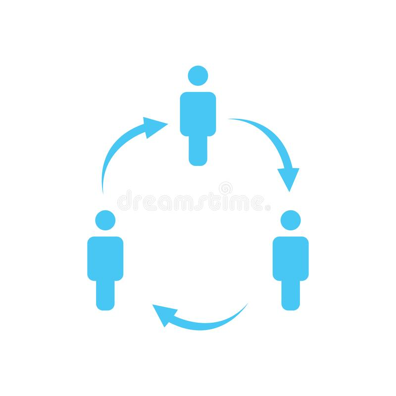 Structure of company icon, three people in circle, business report concept. hierarchy with arrows in circle. vector illustration i. Solated on white background stock illustration