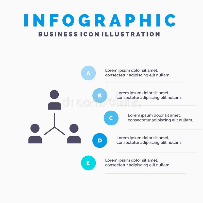 Structure, Company, Zusammenarbeit, Gruppe, Hierarchie, Leute, Schritt-Darstellungs-Hintergrund Team Solid Icon Infographicss 5 stock abbildung