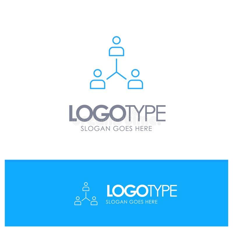Structure, Company, Zusammenarbeit, Gruppe, Hierarchie, Leute, Team Blue-Entwurf Logo mit Platz für Tagline vektor abbildung