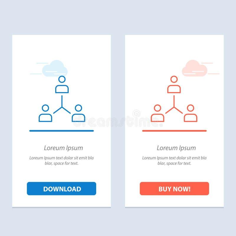 Structure, Company, Zusammenarbeit, Gruppe, Hierarchie, Leute, Team Blue und rotes Download und Netz Widget-Karten-Schablone jetz lizenzfreie abbildung