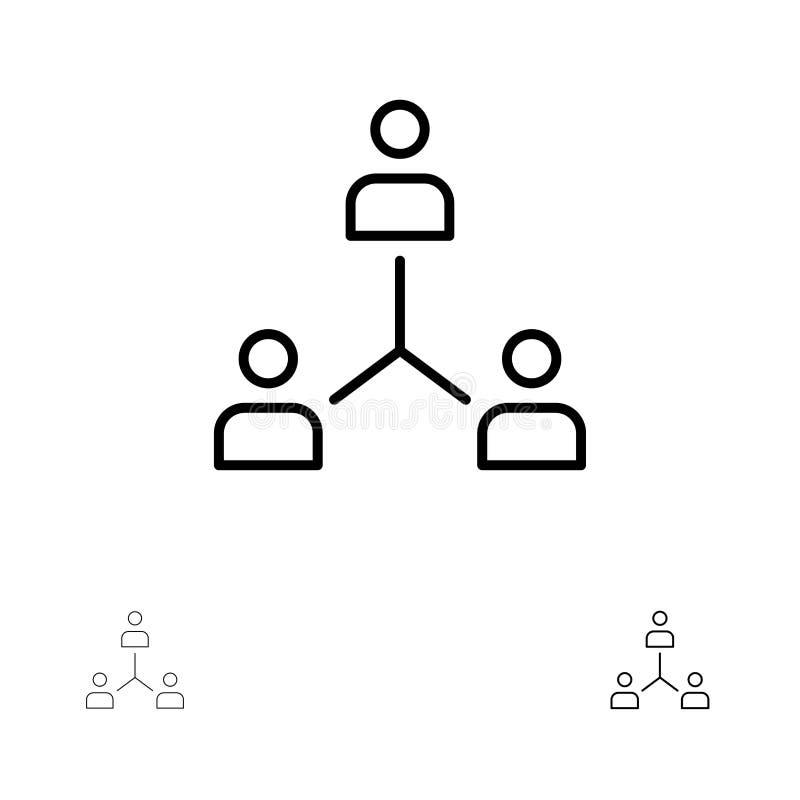 Structure, Company, Zusammenarbeit, Gruppe, Hierarchie, Leute, Team Bold und dünne schwarze Linie Ikonensatz stock abbildung