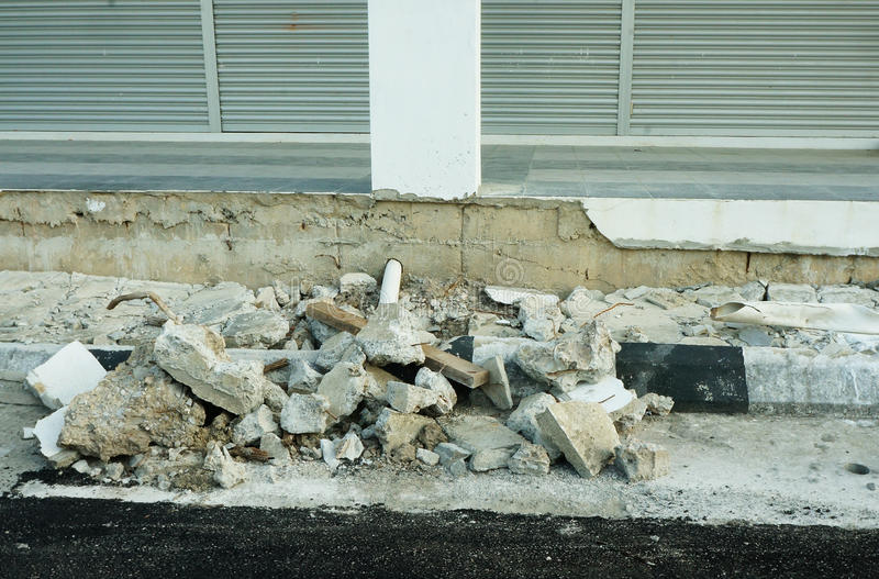 Structure cracked and collapsed - foundation problems. New shop-house cement structure cracked and collapsed stock photography