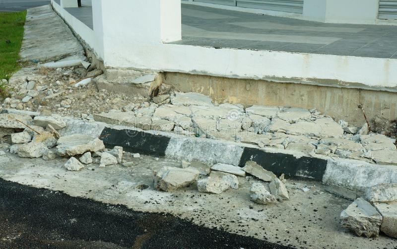 Structure cracked and collapsed - foundation problems. New shop-house cement structure cracked and collapsed royalty free stock images