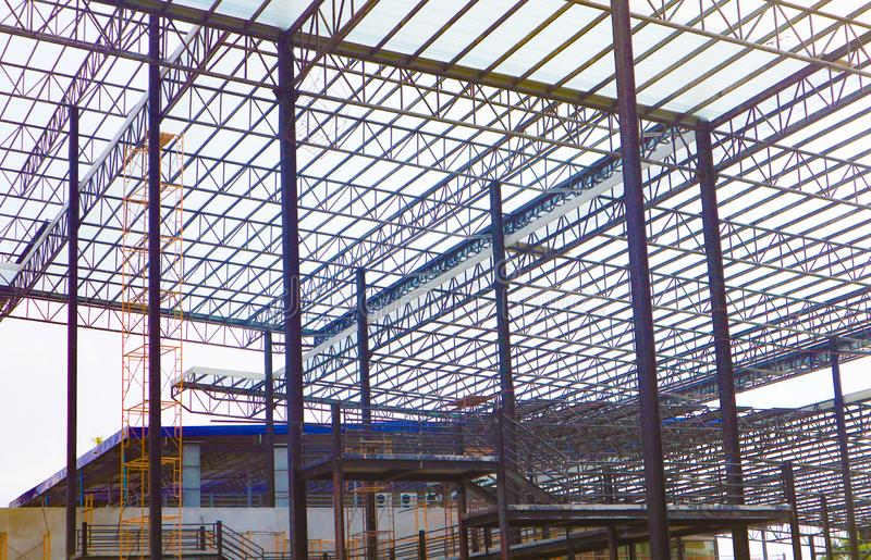 Structure d'acier en m?tal et en aluminium de cadre pour l'industrie du b?timent d'usine et d'entrep?t images libres de droits