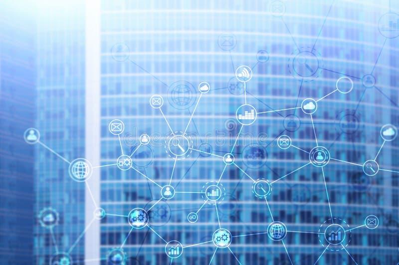 Structure d'association d'entreprises de double exposition sur le fond brouillé image libre de droits