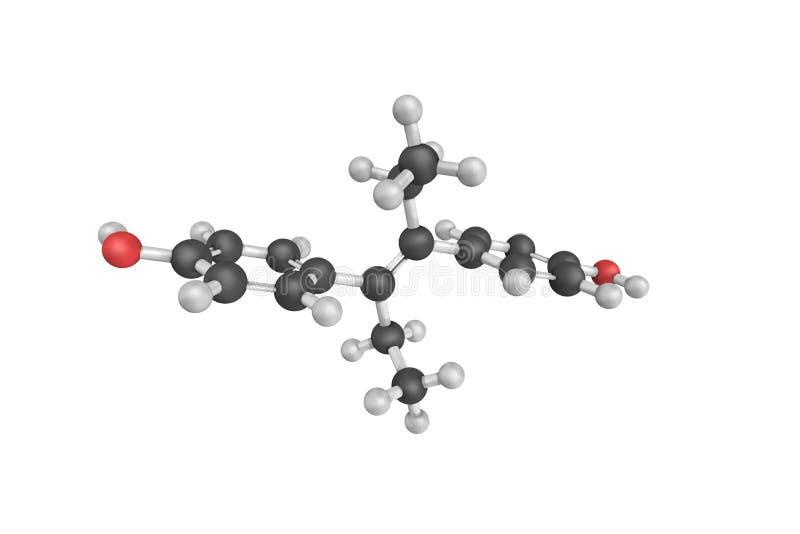 structure 3d du diethylstilbestrol, un synthétique, non-stéroïdal illustration stock