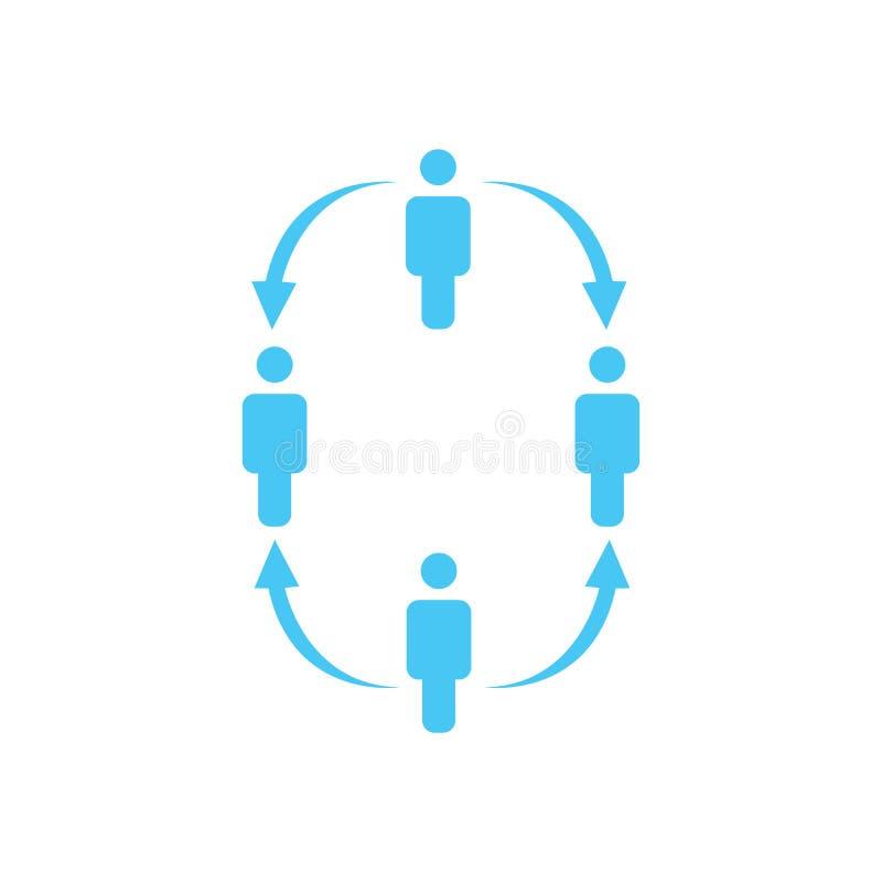 structure d'icône de société, quatre personnes, concept de rapport de gestion hiérarchie de travail d'équipe avec des flèches ver illustration de vecteur
