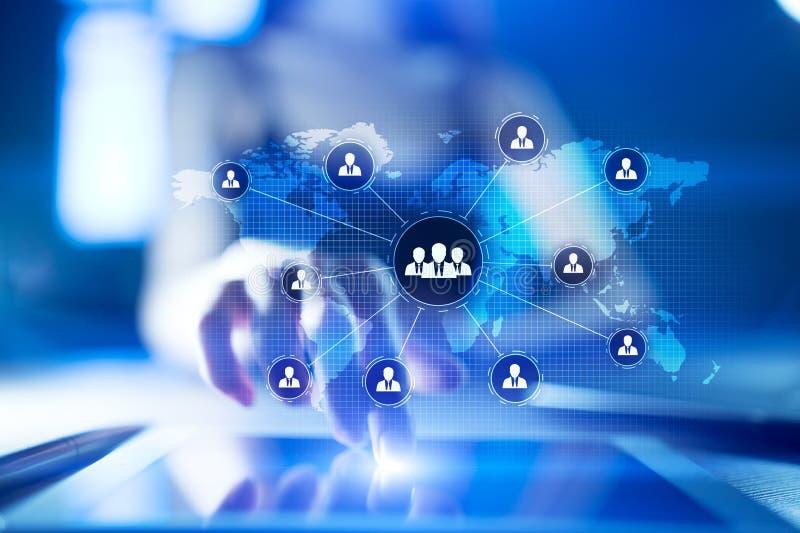 Structure d'organisation de personnes Heure Ressources humaines et recrutement Communication, technologie d'Internet Concept d'af images stock