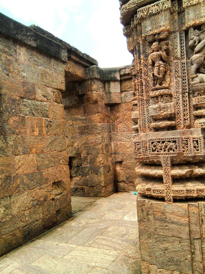 Structure dans le temple antique de Konark images stock