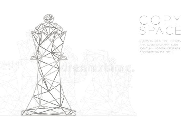 Structure de cadre d'argent de polygone de wireframe de roi d'échecs, illustration de conception de l'avant-projet de stratégie c illustration libre de droits