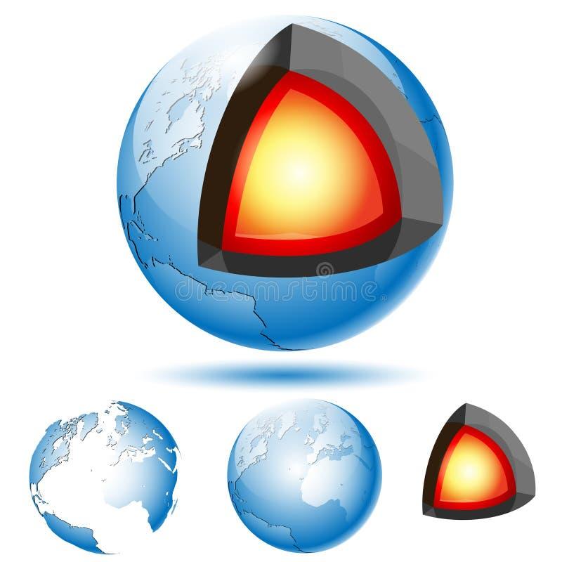 Structure de noyau terrestre avec des couches géologiques illustration de vecteur