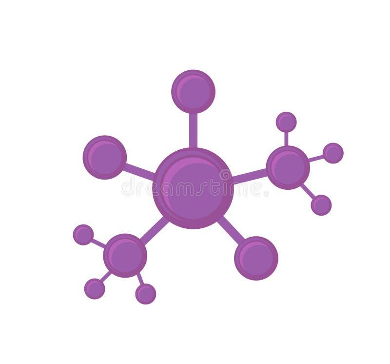 Structure de réseau abstraite Connexion de cellules Illustration de vecteur Effet brillant plat illustration stock