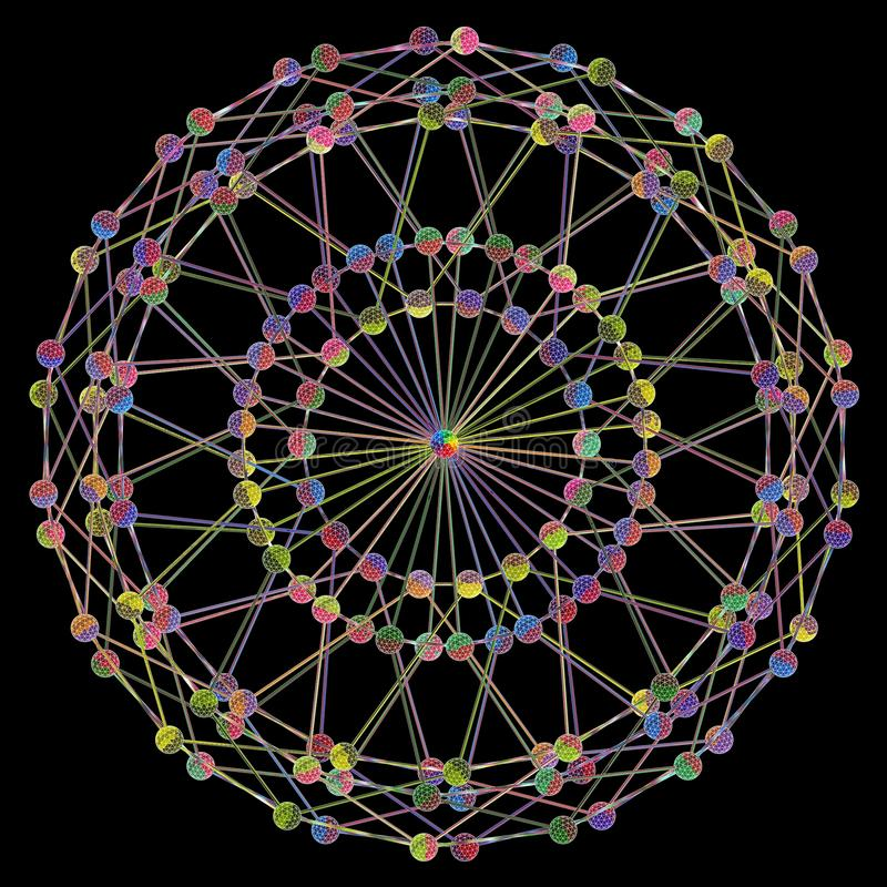 Structure de réseau de fractale de molécule d'ADN 01 Concept coloré de connexion de ficelle d'ADN, d'isolement sur le fond noir illustration libre de droits
