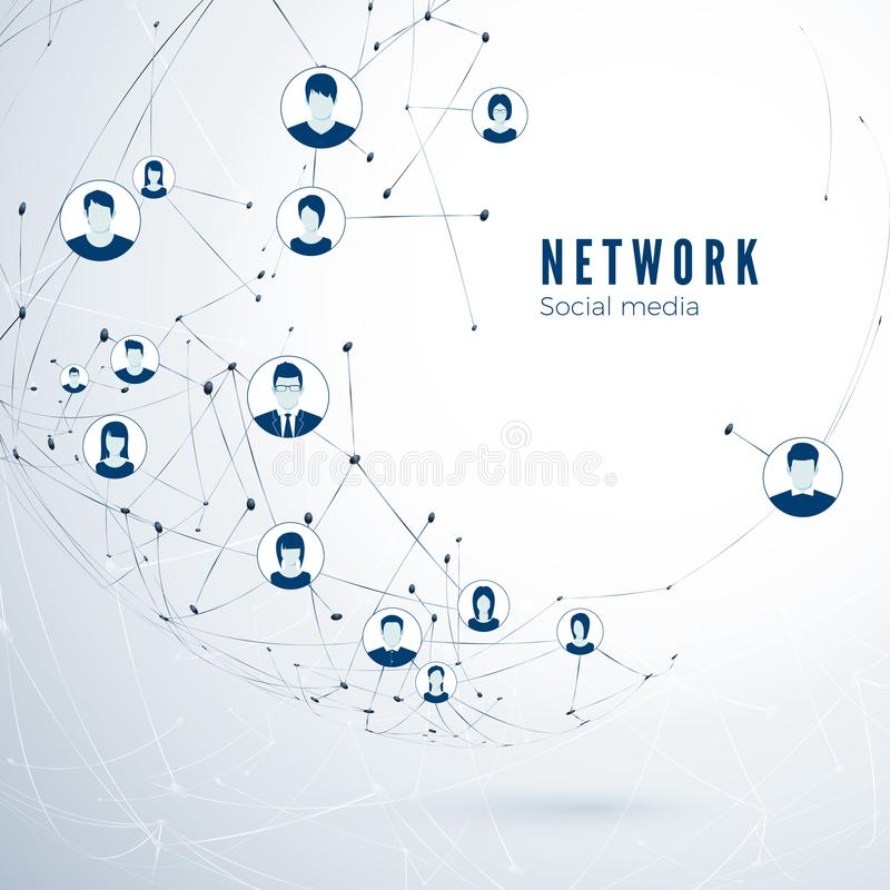 Structure de réseau social de media Connexion globale Connexion d'association d'utilisateur Illustration de vecteur illustration libre de droits